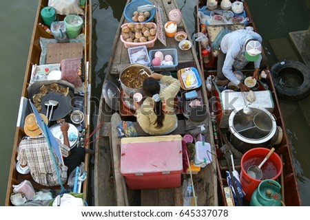 Floating market at Amphawa, Samuthsongkram Province near by Bangkok Thailand