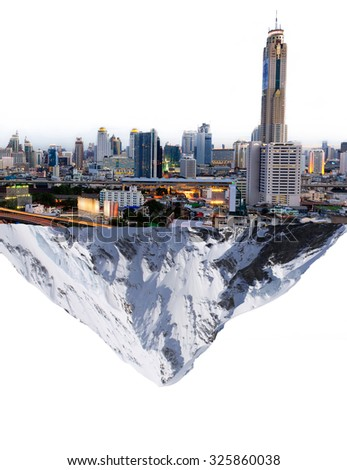 Floating planet,Fancy island city concept Cityscape mountain snow in the air to separate the concept of prosperity makes melting snow. - stock photo