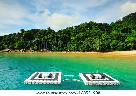 Floating Play Park at Tioman Island - stock photo