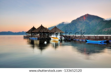 Floating Resort in Kintamani Bali - stock photo