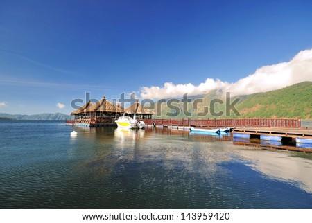 Floating Resort in Kintamani, Bali Indonesia - stock photo