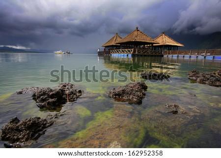 Floating restaurant in Batur Lake Kintamani - stock photo