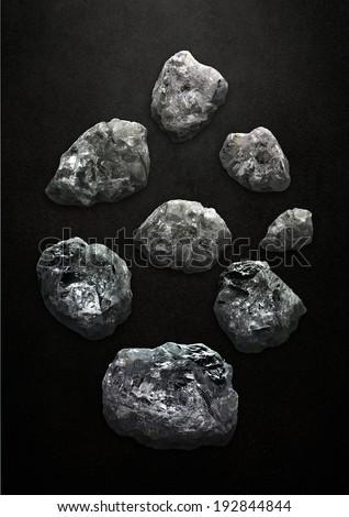 Floating rocks that look like uncut diamonds - stock photo