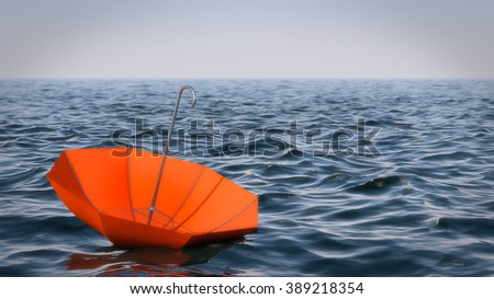 Floating umbrella in the sea