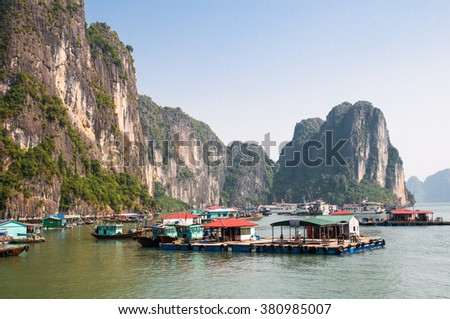 Floating village in Halong Bay, Vietnam.Unesco World Heritage Site. Most popular place in Vietnam.