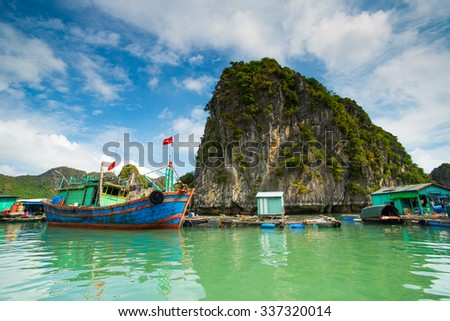 Floating village on the sea around Catba island, Hai phong, Vietnam.