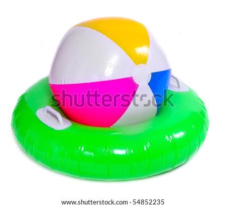 Floating water toys isolated on white background - stock photo