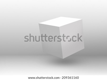 Floating white cube in a white empty room. Clip art and illustration. Made with adobe photoshop CS6 - stock photo