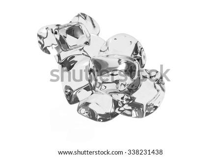Floating wine plus ice, special techniques, transparent liquid - stock photo