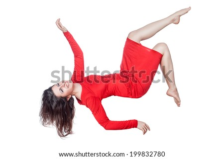 stock photo floating woman in a red dress on a white background 199832780 woman levitating stock images, royalty free images & vectors Wire Harness Assembly at soozxer.org