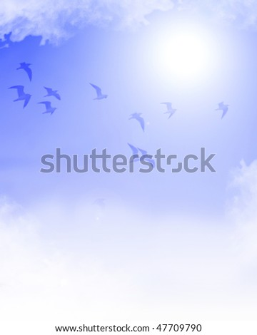 flock of birds flying in a clear blue sky - stock photo