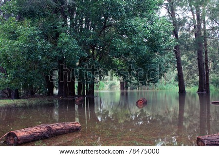 Flood at Sydney North Beach cost by whole week of rain. - stock photo