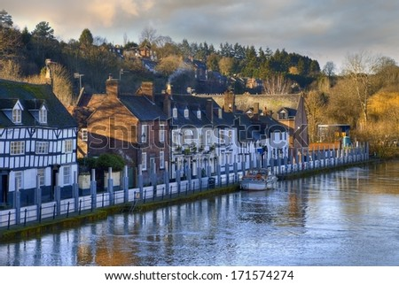 Flood defences on the River Severn, Bewdley, Worcestershire, England. - stock photo