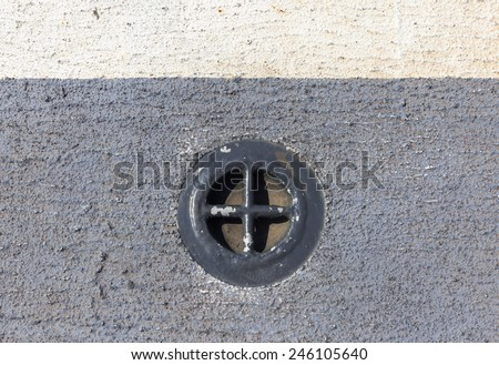 flood gate on the ship,conduit,floodgate,water gate,waterspout,culvert,valve - stock photo