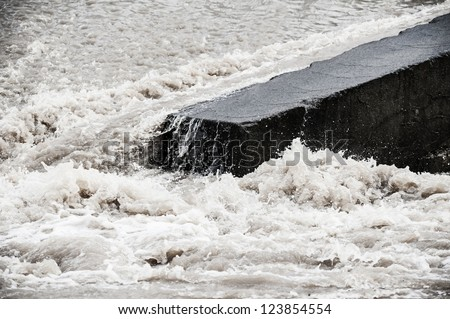 flood - high wild water close up - stock photo
