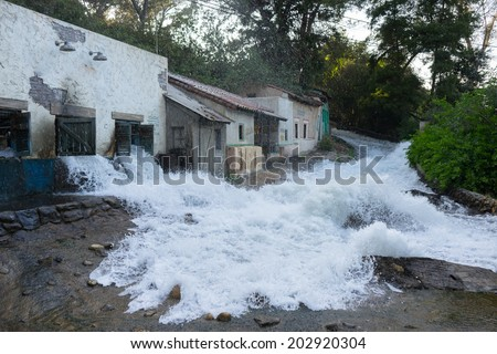 Flood in a city - stock photo