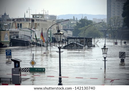 Flood in Germany, Dresden city - stock photo