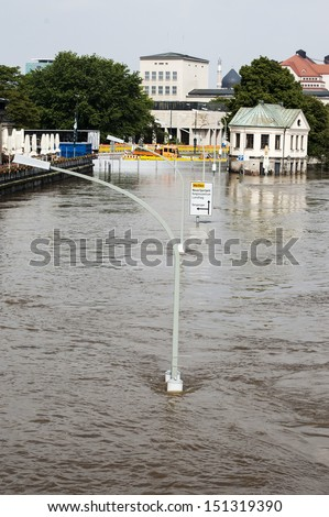 Flood in Germany, Dresden city, 2013 June - stock photo