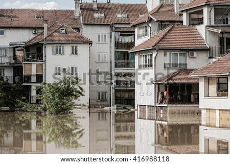 Flood in town - stock photo