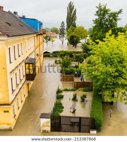 flood 2013 linz, austria. inundation and flooding. - stock photo
