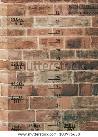 "Flood Record Indications on the ""Old Bridge"" in Heidelberg, Germany - stock photo"