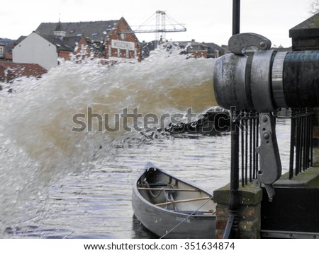 Flood water is pumped into River Ouse - stock photo