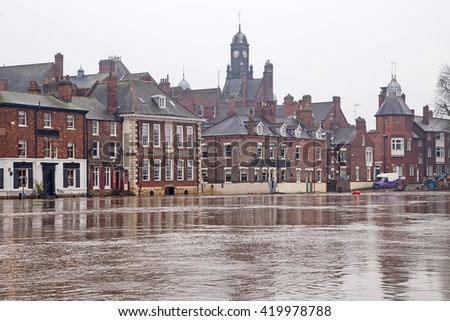 Flooded buildings alongside the River Ouse, York - stock photo