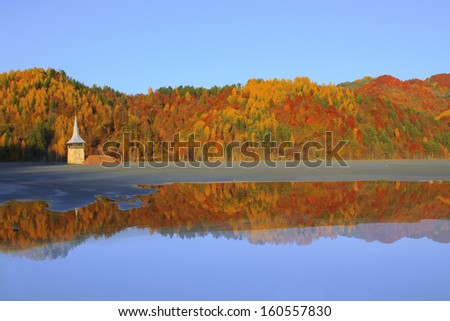 Flooded church in Rosia Montana,natural disaster - stock photo