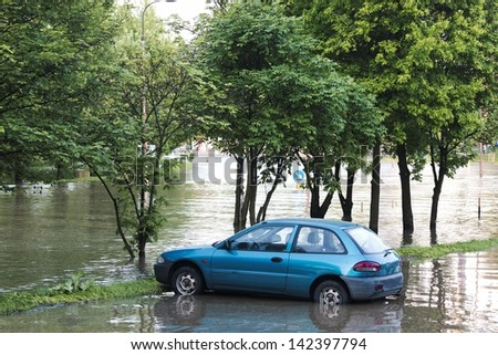 Flooded city of Wroclaw in 2010 - stock photo