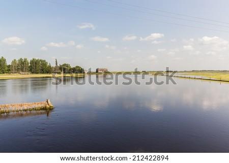 flooded farmyard - stock photo