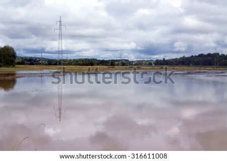 Flooded field - stock photo