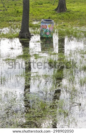 Flooded fields - Field under flood water - stock photo