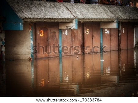 Flooded garage - stock photo