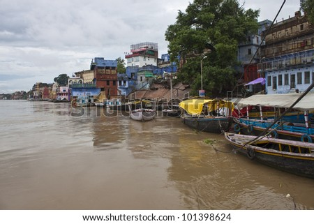 Flooded ghats in Varanasi during monsoon period, India