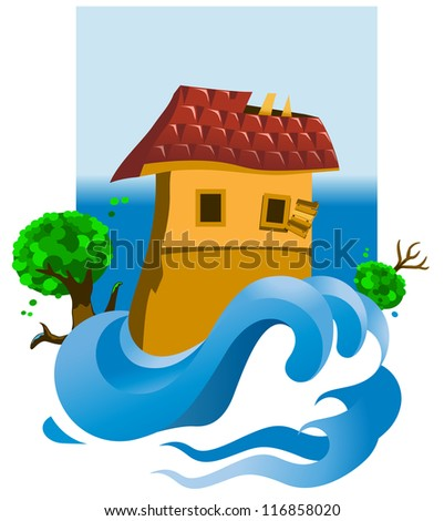 Flooded house - stock photo