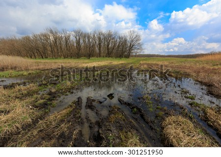 Flooded mud road in spring steppe - stock photo