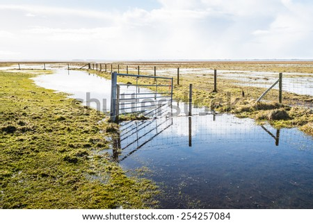 Flooded nature reserve and a crooked steel gate reflected in the mirror smooth water and ice surface on a clear and sunny day in winter. - stock photo