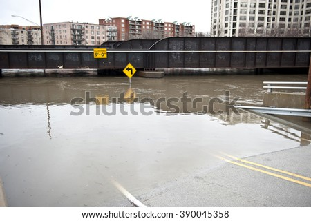 Flooded Roadway Outdoors - stock photo
