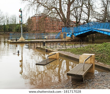 Flooded seats and roads - stock photo