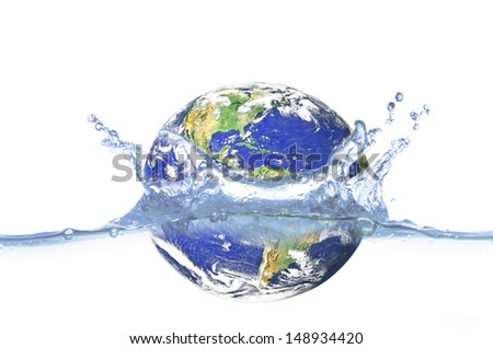 "Flooding Earth Concept  ""Elements of this image furnished by NASA    - stock photo"