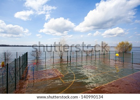 Flooding high waters during spring time in the city - stock photo