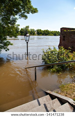 Flooding in Magdeburg, Germany, June 2013 - stock photo