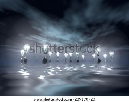 Flooding Men with Ideas - stock photo