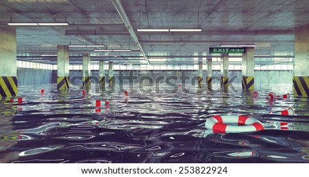 flooding parking lot. 3d concept - stock photo