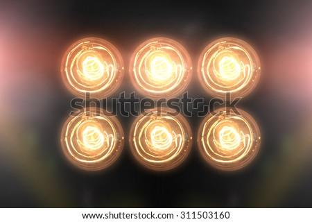 Floodlights Flash lights.Spotlights - stock photo