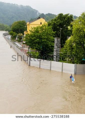 floods 2013. linz, austria. flood and inundation. - stock photo
