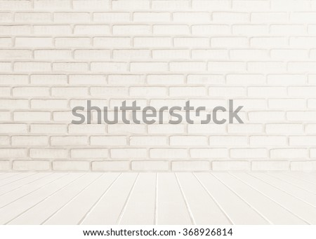 Floor and wall Interior of white brick and white wooden floor sepia tones. Wall texture background. Old room wall. Wood planks stage. House interior design. - stock photo