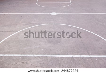 Floor basketball court, detail concrete floor, outdoor play, sport - stock photo