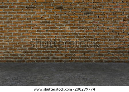 Floor Concrete, Wall Red Brick,  Backgrounds, Texture, Pattern, Interior - stock photo