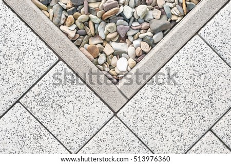 Floor Design With Terrace Tiles And Ornamental Gravel; Various Materials  For Flooring In The Garden